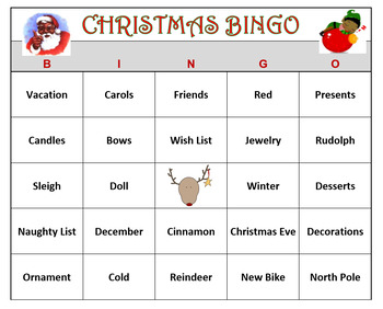 image relating to Holiday Bingo Printable titled Xmas Bingo Match- Trip Enjoyable! 60 Bingo Playing cards Printable.