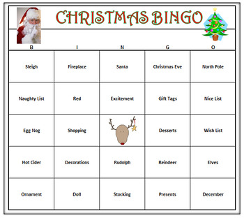 Christmas Bingo Game- Holiday Fun! 60 Bingo Cards Printable