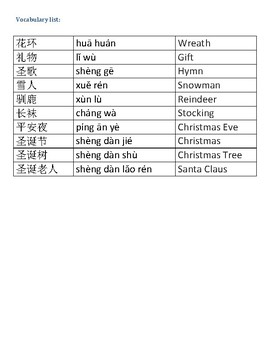 Christmas Bingo In Chinese