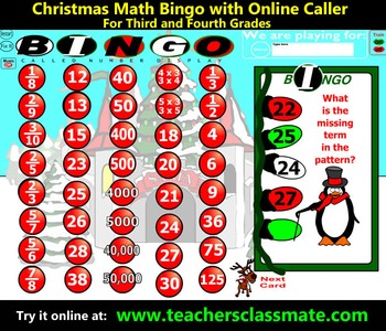 Christmas Bingo - Math - with Interactive Whiteboard Caller Option
