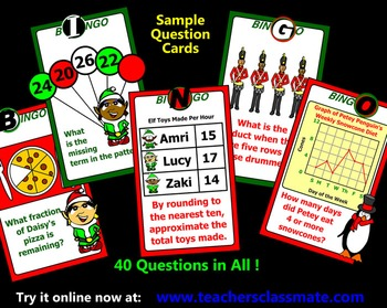 Christmas Bingo - Math - with Interactive Whiteboard Caller Option
