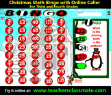 Christmas Bingo - Math - with Interactive Whiteboard Calle