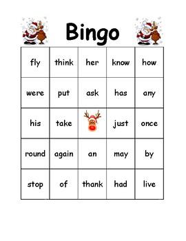 Christmas Bingo Primer Words - 1st Grade