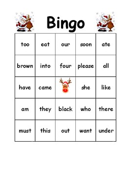 Christmas Bingo Primer Words Kindergarten