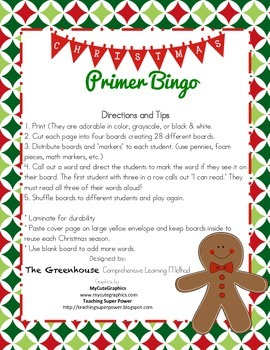 Christmas Bingo with Dolch Sight Words (Primer)