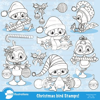 Clipart, Stamps, Christmas Bird, Black line, Outlines, AMB-194