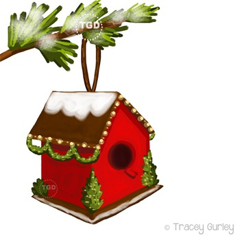 Christmas Birdhouse Clip Art Download - 4 files Printable Tracey Gurley Designs