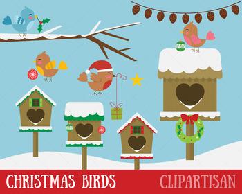 Christmas Birds Clip Art