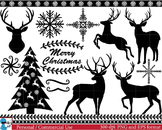Christmas Black Deers -  Clip Art Digital Files Personal Commercial Use cod39