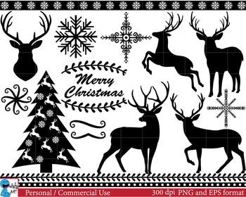 Christmas Black Deers -  Clip Art Digital Files Personal Commercial Use cod39