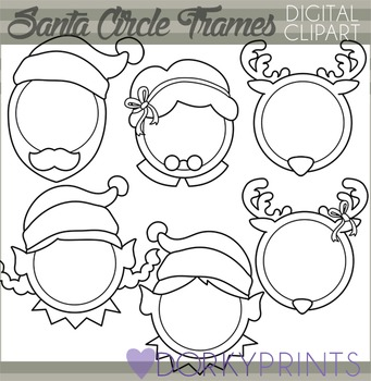 Christmas Blackline Clip Art - Santa Circle Frames