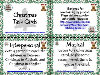 Christmas Blooms and Gardner Grid with task cards