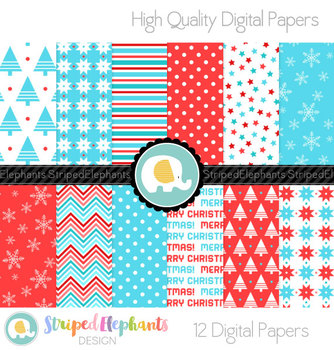 Christmas Blue and Red Digital Papers