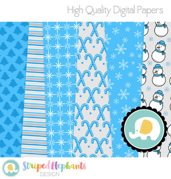 Christmas Blue and Silver Digital Papers