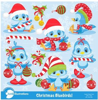 Christmas Bluebirds Clipart AMB-192