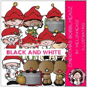 Melonheadz: Christmas Bobbleheadz clip art - BLACK AND WHITE