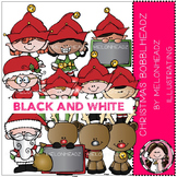 Christmas Bobbleheadz clip art - BLACK AND WHITE- by Melonheadz