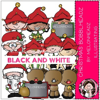 Christmas Bobbleheadz clip art - BLACK AND WHITE- by Melonheadz