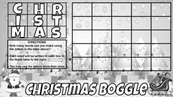 Christmas Boggle Digital and Printable Version Included (Google Classroom Ready)