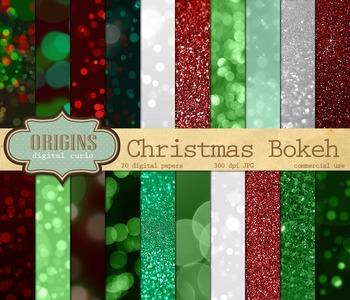 Christmas Bokeh Digital Paper Glitter Sparkle Backgrounds