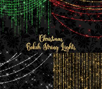 Christmas Bokeh String Lights Clipart, digital fairy light overlays