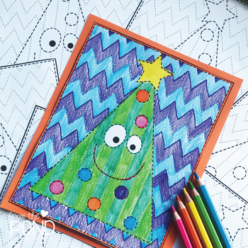 Happy Christmas Tree Big Shape Tracing {Prewriting Activity}
