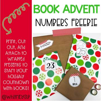 Christmas Book Advent Number Tags Freebie