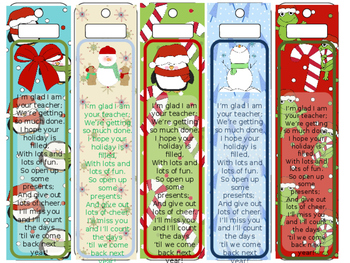 Christmas Gift Bookmarks (From teacher to students)