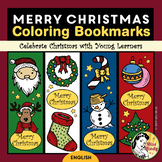 Christmas Bookmarks for Coloring   Teacher Holiday Gifts for Students (English)