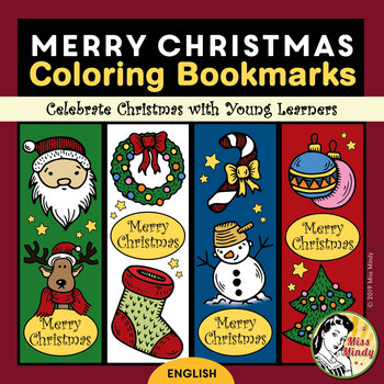 Christmas Bookmarks for Coloring | Teacher Holiday Gifts for Students (English)