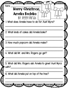 Christmas Books Comprehension Questions