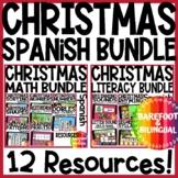 Christmas Boom Cards   Spanish Literacy and Math Bundle   English   Audio