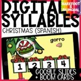 Christmas Boom Cards | Syllables | Spanish | Google Slides | Segmenting Syllable