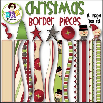 Christmas Border Pieces ● Christmas Clipart● Graphics ● Products for TpT Sellers