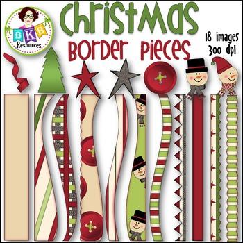 Christmas Border Pieces ● Christmas Clipart● Graphics ● Pr