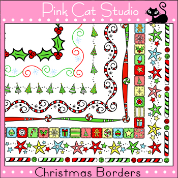 Christmas Borders and Frames Clip Art by Pink Cat Studio | TpT