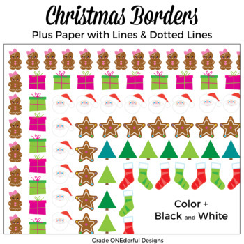 Christmas Borders Clip Art plus lined paper