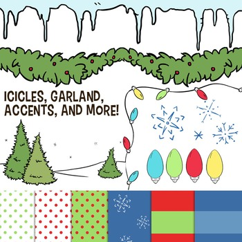 Christmas Borders and Backgrounds Clip Art -- Icicles, Christmas Lights, Snow