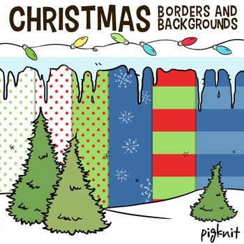 Christmas Borders and Backgrounds Clip Art -- Icicles, Chr