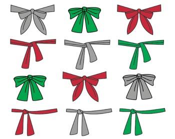 Christmas Bow Clipart, Ribbons, Christmas Bow Set #097