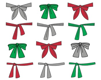 Christmas Bow Clipart, Ribbons, Christmas Bow Set #097