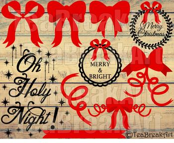 Christmas Bow Oh Holy Night Word Art Typography PNG EPS svg dxf clipart 741C