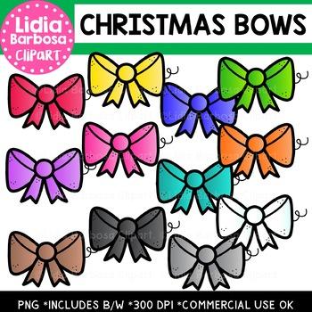Christmas Bows Clipart {Lidia Barbosa Clipart}
