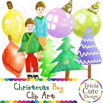 Christmas Boy is Decorating the Christmas Trees Clip Art