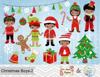 Christmas Boys Clip Art, Red and Green African American Christmas Boys 00216