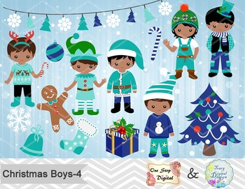 Christmas Boys Clip Art, Teal Blue Green African American Christmas Boys 0218