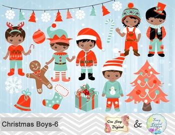 Christmas Boys Clip Art Teal Orange African American Christmas Boys ClipArt 0220