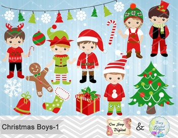 Christmas Boys Digital Clip Art, Red and Green Christmas Boys Clip Art 00215