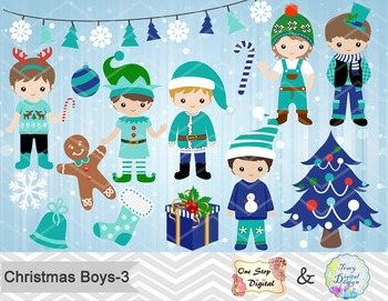 Christmas Boys Digital Clip Art, Teal Blue Green Christmas Boys Clip Art, 00217