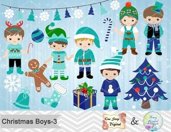 Christmas Boys Digital Clip Art, Teal Blue Green Christmas